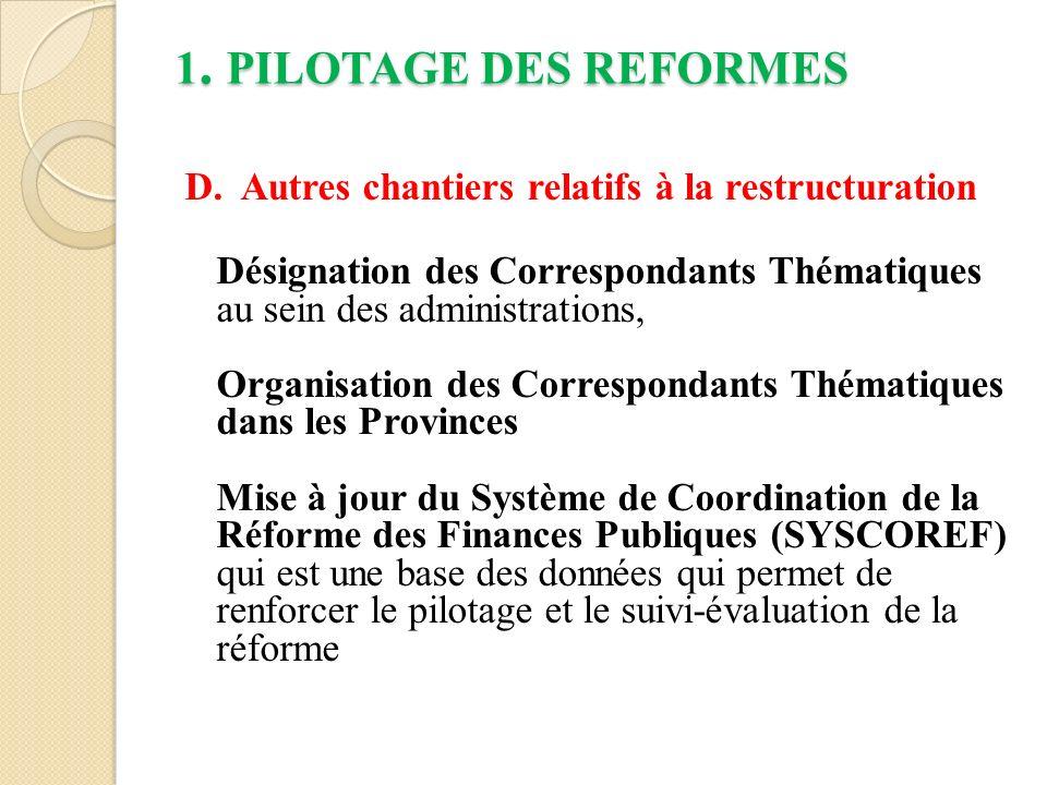 2.REFORMES PRIORITAIRES RECENTES 2.8.
