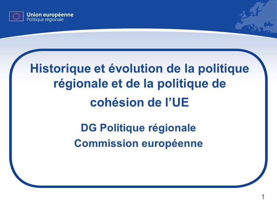 1 Historique et évolution de la politique régionale et de la politique de cohésion de lUE DG Politique régionale Commission européenne
