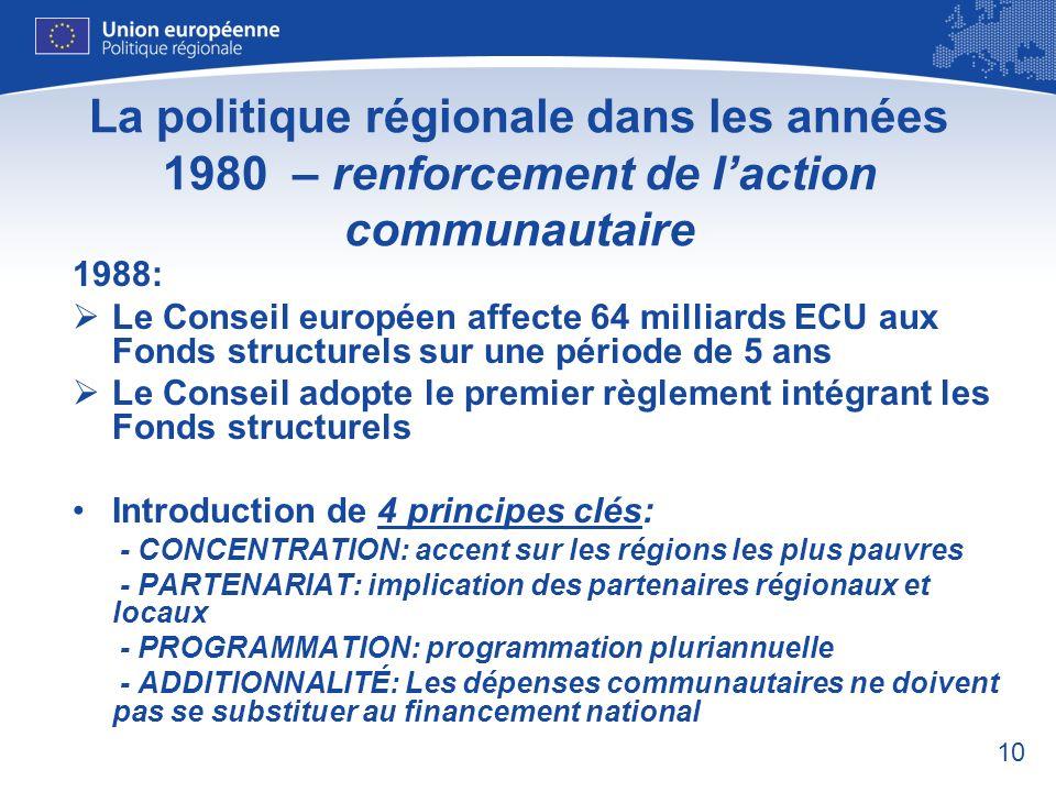 10 La politique régionale dans les années 1980 – renforcement de laction communautaire 1988: Le Conseil européen affecte 64 milliards ECU aux Fonds st