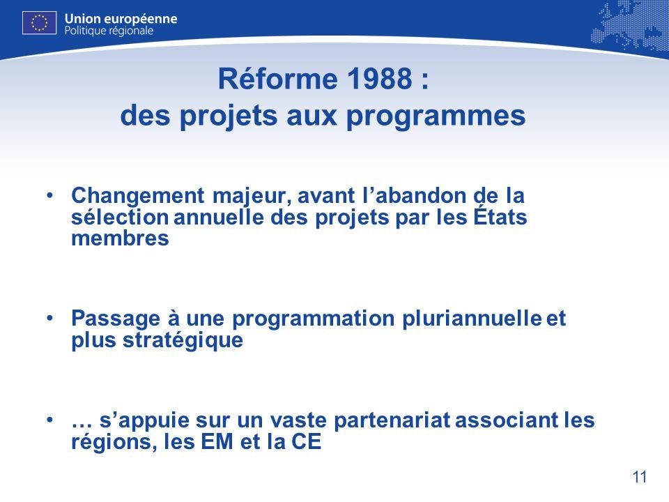 11 Réforme 1988 : des projets aux programmes Changement majeur, avant labandon de la sélection annuelle des projets par les États membres Passage à un