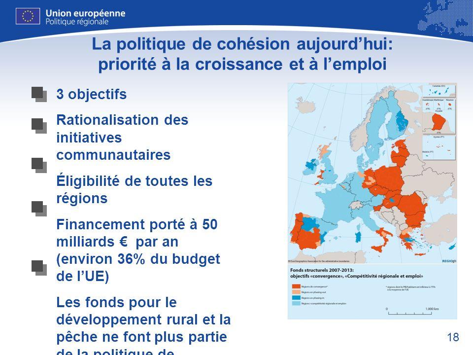 18 La politique de cohésion aujourdhui: priorité à la croissance et à lemploi 3 objectifs Rationalisation des initiatives communautaires Éligibilité d