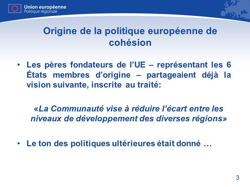 3 Origine de la politique européenne de cohésion Les pères fondateurs de lUE – représentant les 6 États membres dorigine – partageaient déjà la vision