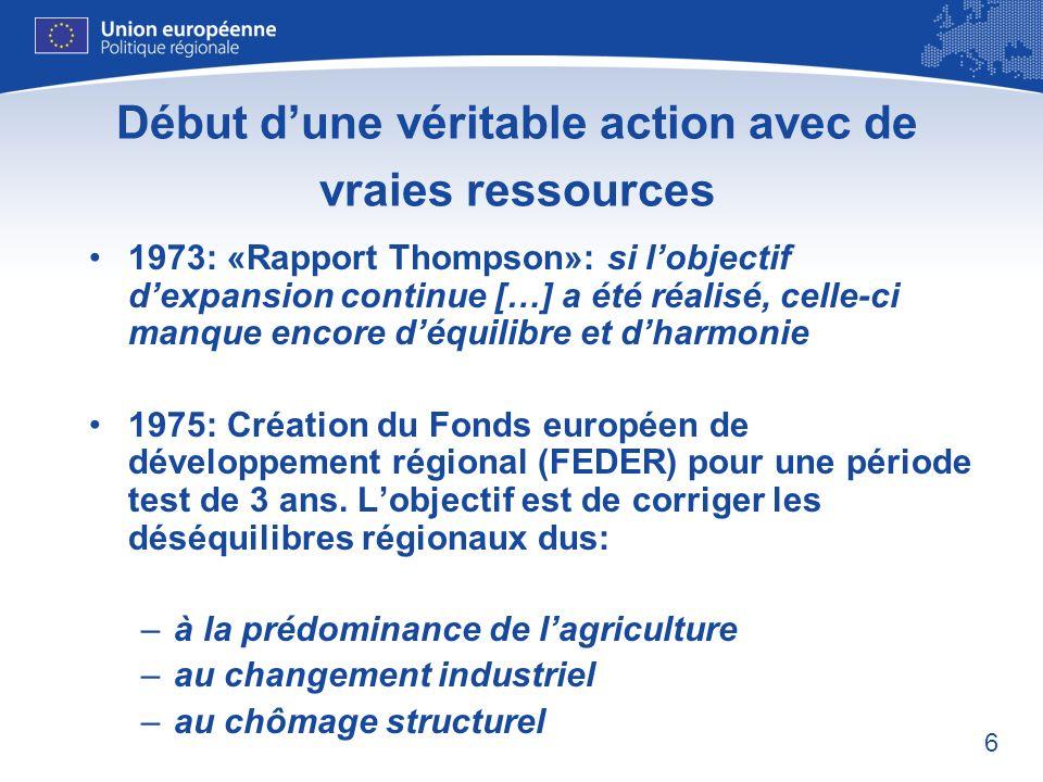 7 Les débuts du FEDER: les actions éligibles 1) investissements dans les petites entreprises créatrices dau moins 10 nouveaux emplois 2) investissements dans les infrastructures en rapport avec le point 1 3) investissements dinfrastructure dans les régions montagneuses, qui devaient également être éligibles au titre du Fonds dorientation agricole