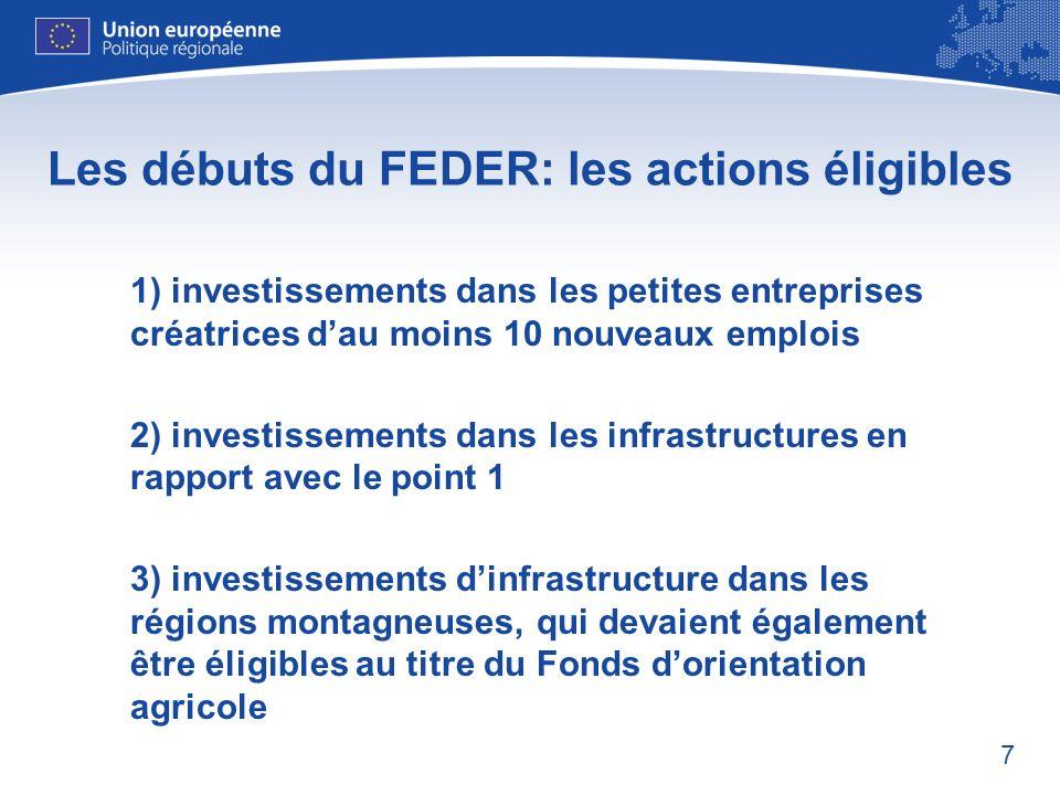 7 Les débuts du FEDER: les actions éligibles 1) investissements dans les petites entreprises créatrices dau moins 10 nouveaux emplois 2) investissemen