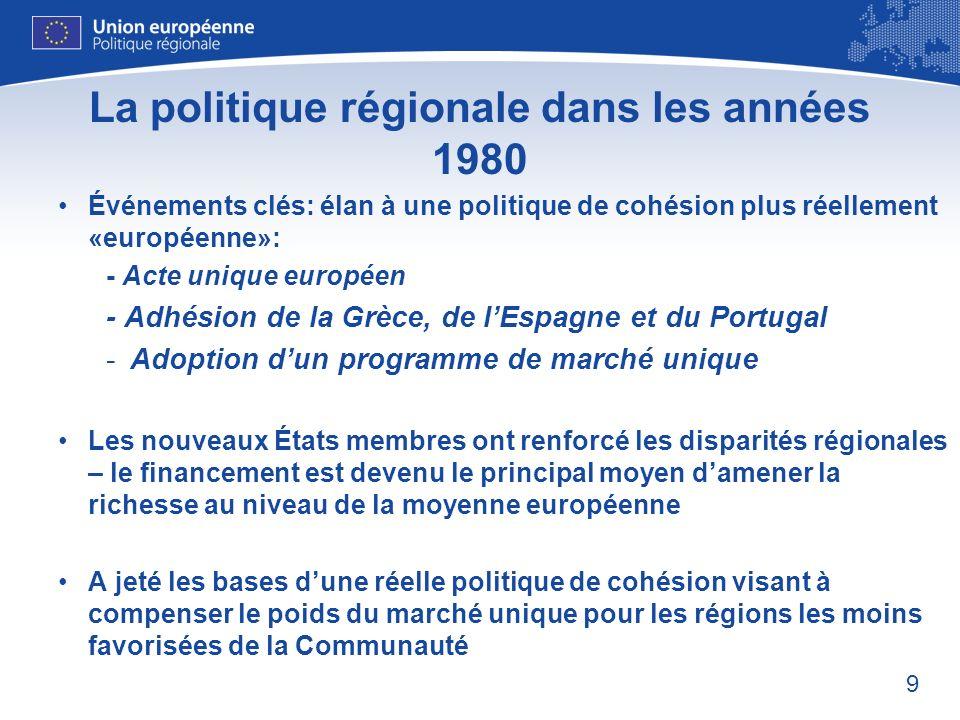 10 La politique régionale dans les années 1980 – renforcement de laction communautaire 1988: Le Conseil européen affecte 64 milliards ECU aux Fonds structurels sur une période de 5 ans Le Conseil adopte le premier règlement intégrant les Fonds structurels Introduction de 4 principes clés: - CONCENTRATION: accent sur les régions les plus pauvres - PARTENARIAT: implication des partenaires régionaux et locaux - PROGRAMMATION: programmation pluriannuelle - ADDITIONNALITÉ: Les dépenses communautaires ne doivent pas se substituer au financement national