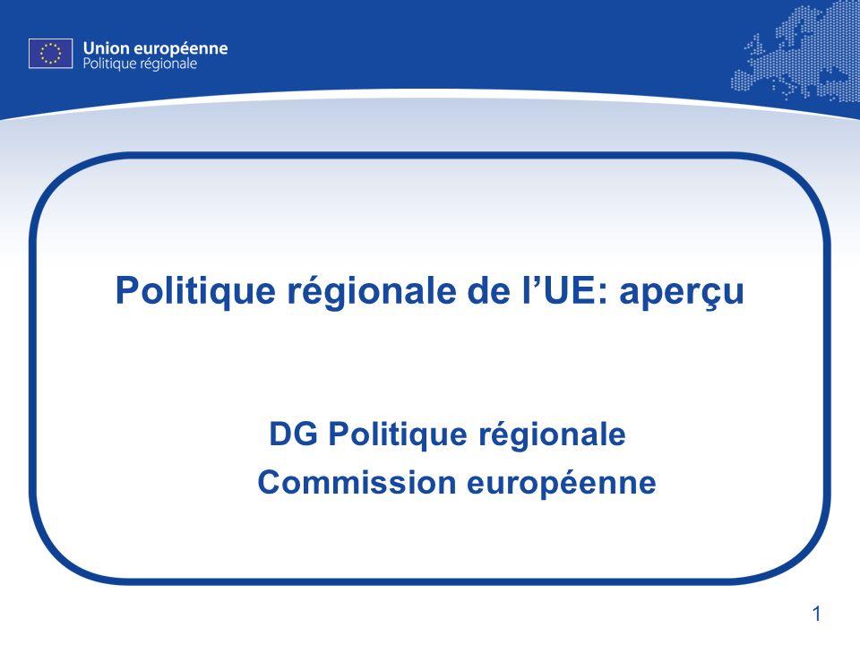 1 Politique régionale de lUE: aperçu DG Politique régionale Commission européenne