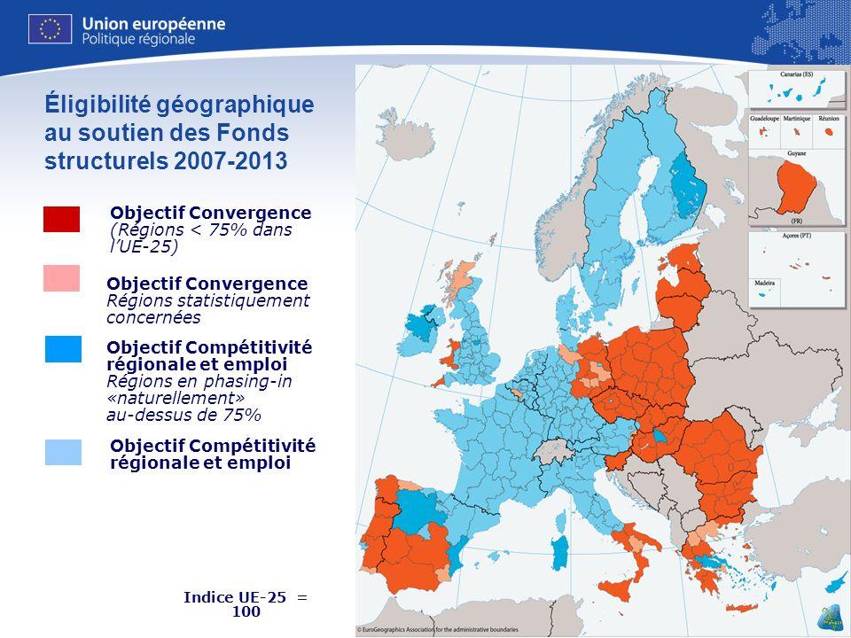 17 Indice UE-25 = 100 Source: Eurostat Éligibilité géographique au soutien des Fonds structurels 2007-2013 Objectif Compétitivité régionale et emploi