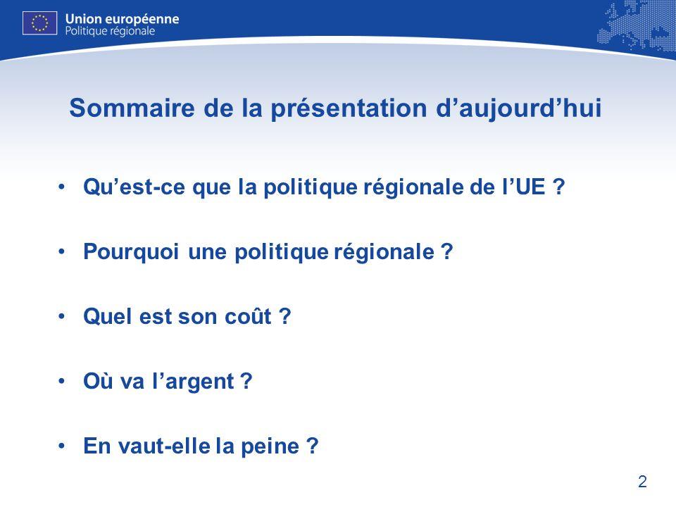 2 Sommaire de la présentation daujourdhui Quest-ce que la politique régionale de lUE ? Pourquoi une politique régionale ? Quel est son coût ? Où va la