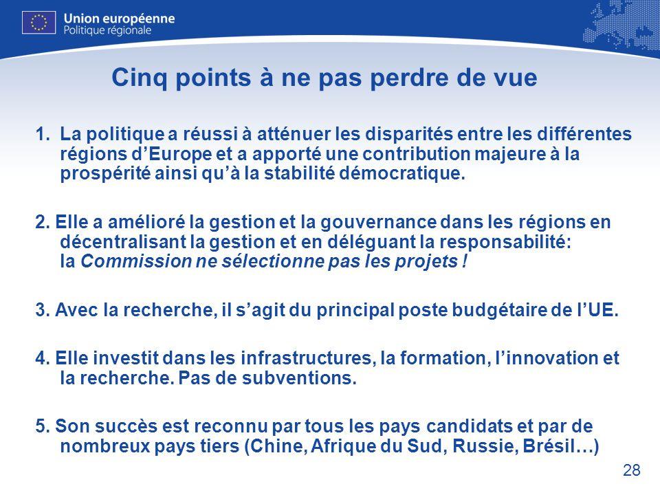 28 Cinq points à ne pas perdre de vue 1.La politique a réussi à atténuer les disparités entre les différentes régions dEurope et a apporté une contrib