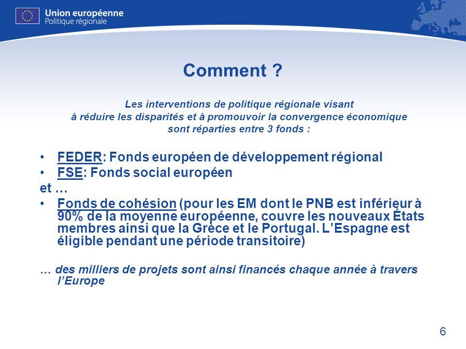 6 Comment ? Les interventions de politique régionale visant à réduire les disparités et à promouvoir la convergence économique sont réparties entre 3