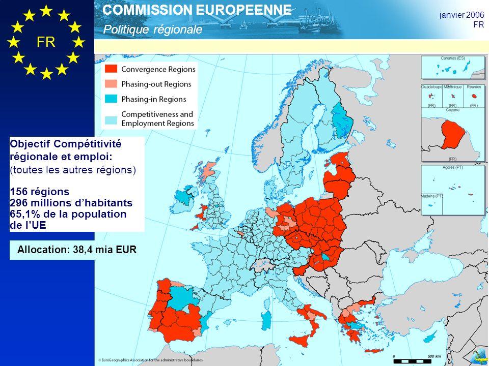 Politique régionale COMMISSION EUROPEENNE janvier 2006 FR Objectif Compétitivité régionale et emploi: (toutes les autres régions) 156 régions 296 millions dhabitants 65,1% de la population de lUE Allocation: 38,4 mia EUR