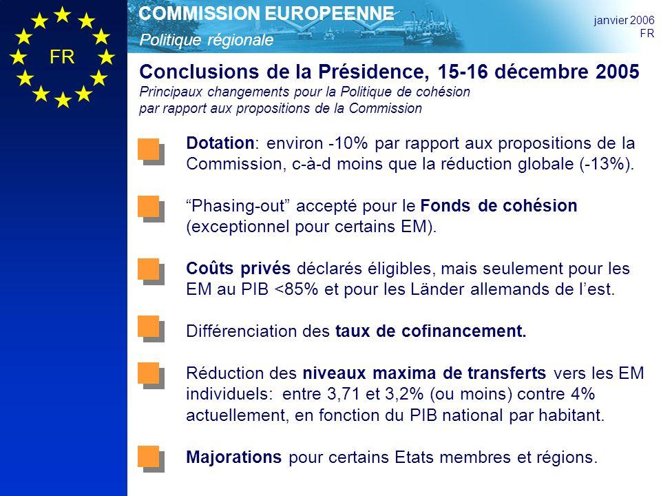 Politique régionale COMMISSION EUROPEENNE janvier 2006 FR Conclusions de la Présidence, 15-16 décembre 2005 Principaux changements pour la Politique de cohésion par rapport aux propositions de la Commission Dotation: environ -10% par rapport aux propositions de la Commission, c-à-d moins que la réduction globale (-13%).
