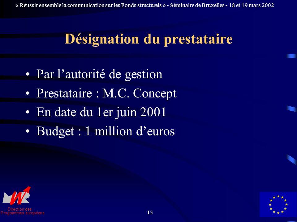 Direction des Programmes européens « Réussir ensemble la communication sur les Fonds structurels » - Séminaire de Bruxelles - 18 et 19 mars 2002 13 Désignation du prestataire Par lautorité de gestion Prestataire : M.C.
