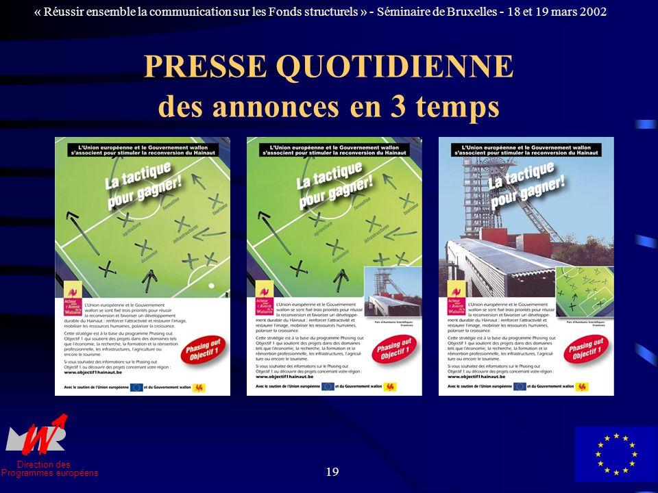 Direction des Programmes européens « Réussir ensemble la communication sur les Fonds structurels » - Séminaire de Bruxelles - 18 et 19 mars 2002 19 PRESSE QUOTIDIENNE des annonces en 3 temps