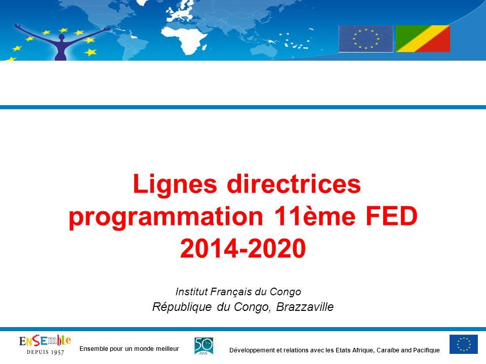 Développement et relations avec les Etats Afrique, Caraïbe and Pacifique Ensemble pour un monde meilleur Lignes directrices programmation 11ème FED 20