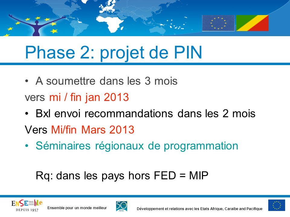 Développement et relations avec les Etats Afrique, Caraïbe and Pacifique Ensemble pour un monde meilleur Phase 2: projet de PIN A soumettre dans les 3
