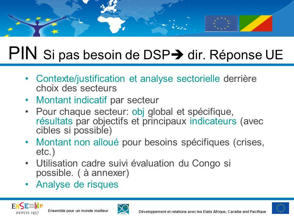 Développement et relations avec les Etats Afrique, Caraïbe and Pacifique Ensemble pour un monde meilleur PIN Si pas besoin de DSP dir. Réponse UE Cont