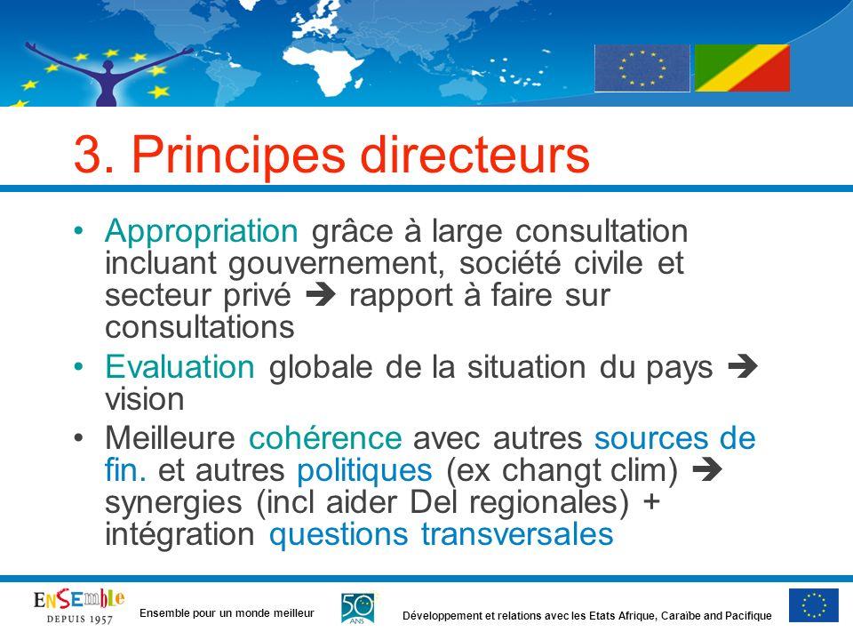 Développement et relations avec les Etats Afrique, Caraïbe and Pacifique Ensemble pour un monde meilleur 3. Principes directeurs Appropriation grâce à