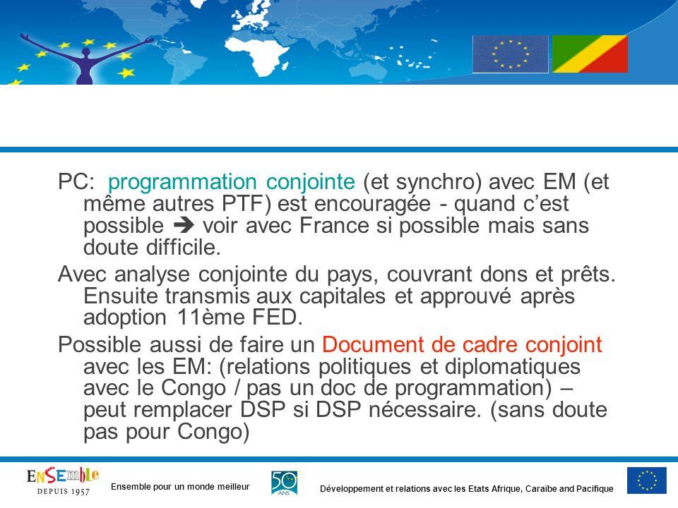 Développement et relations avec les Etats Afrique, Caraïbe and Pacifique Ensemble pour un monde meilleur PC: programmation conjointe (et synchro) avec