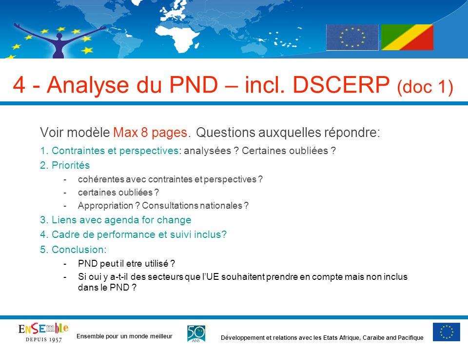 Développement et relations avec les Etats Afrique, Caraïbe and Pacifique Ensemble pour un monde meilleur 4 - Analyse du PND – incl. DSCERP (doc 1) Voi