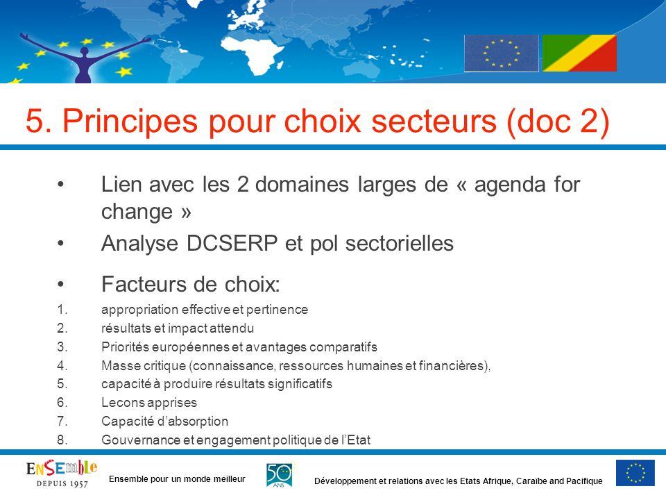 Développement et relations avec les Etats Afrique, Caraïbe and Pacifique Ensemble pour un monde meilleur 5. Principes pour choix secteurs (doc 2) Lien
