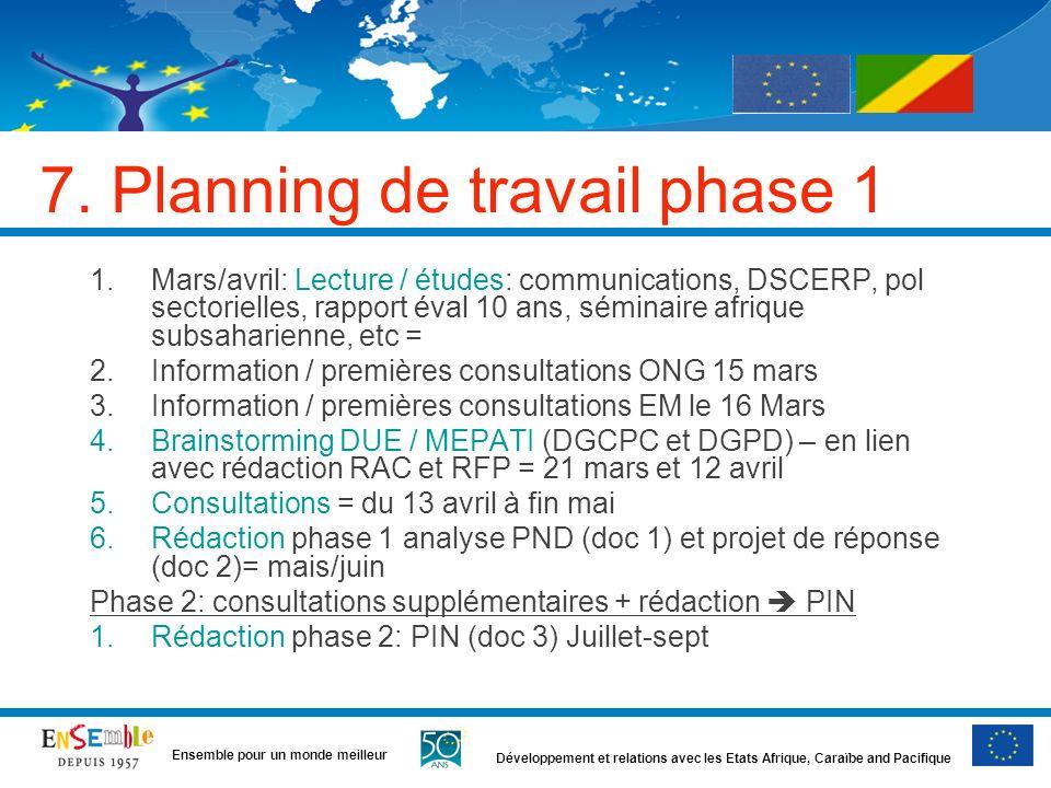 Développement et relations avec les Etats Afrique, Caraïbe and Pacifique Ensemble pour un monde meilleur 7. Planning de travail phase 1 1.Mars/avril: