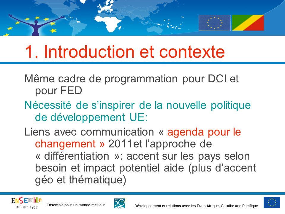 Développement et relations avec les Etats Afrique, Caraïbe and Pacifique Ensemble pour un monde meilleur 1. Introduction et contexte Même cadre de pro