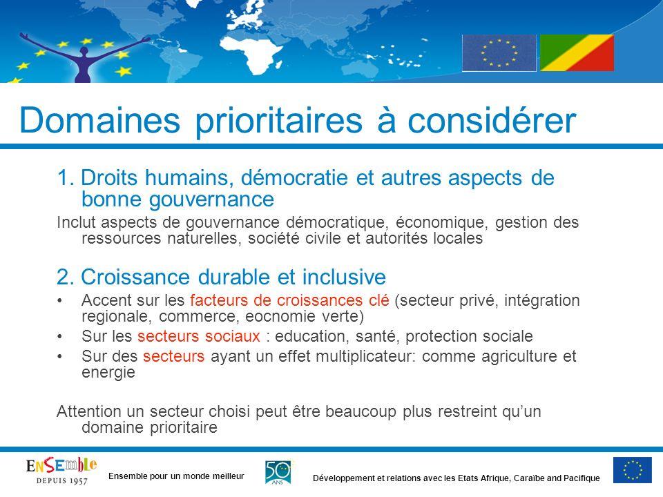 Développement et relations avec les Etats Afrique, Caraïbe and Pacifique Ensemble pour un monde meilleur Principes (suite) Concentration Max 3 secteurs.