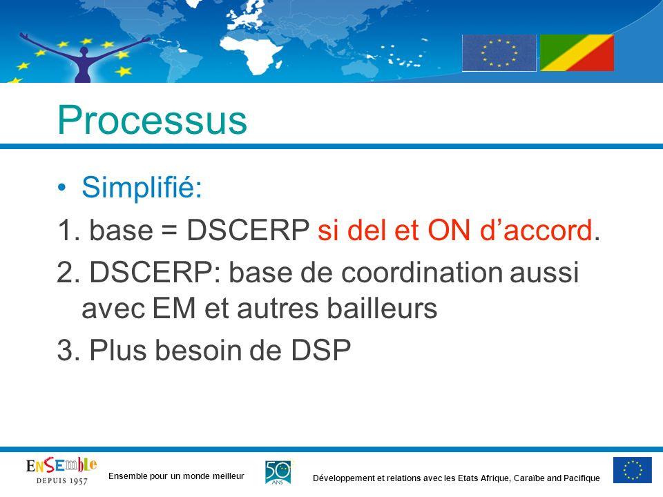 Développement et relations avec les Etats Afrique, Caraïbe and Pacifique Ensemble pour un monde meilleur Processus Simplifié: 1. base = DSCERP si del