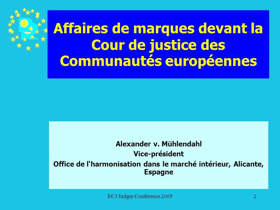 ECJ Judges Conference 200553 Affaires de marques devant la Cour de justice des Communautés européennes Glaverbel/OHMI (Verre à motifs) C-445/02 P (T-63/01) Pourvoi contre larrêt du TPI du 9 octobre 2002 Audience Avocat général Pourvoi rejeté par arrêt du 28 juin 2004
