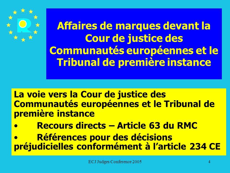 ECJ Judges Conference 200585 C-353/03 Nestlé/Mars 32 En définitive, il convient de répondre à la question préjudicielle que le caractère distinctif dune marque visé à larticle 3, paragraphe 3, de la directive peut être acquis en conséquence de lusage de cette marque en tant que partie dune marque enregistrée ou en combinaison avec celle ci.