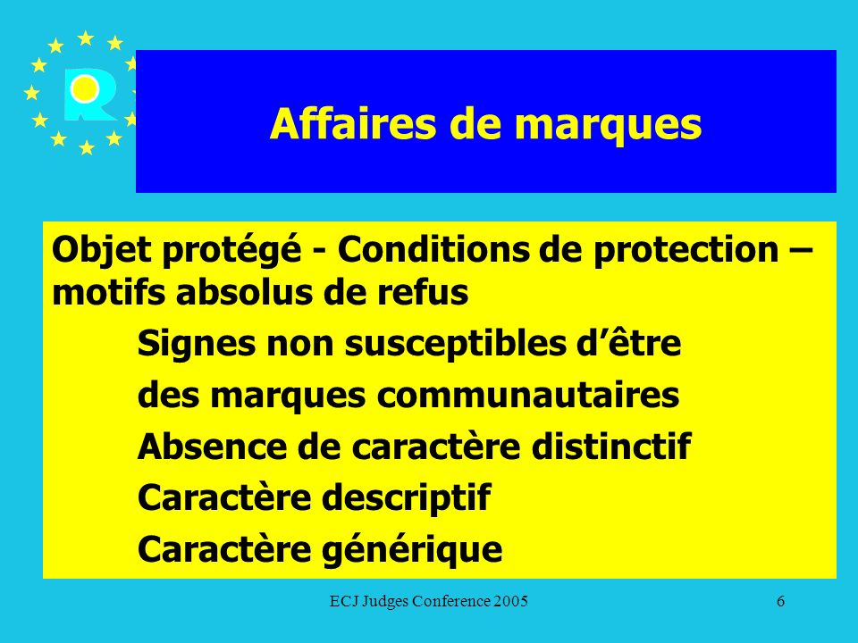 ECJ Judges Conference 200577 Affaires de marques Caractère enregistrable – motifs absolus Refus basés sur labsence de caractère distinctif, le caractère descriptif, le caractère générique (Article 7 du RMC, Article 3 de la directive sur les marques) marques verbales
