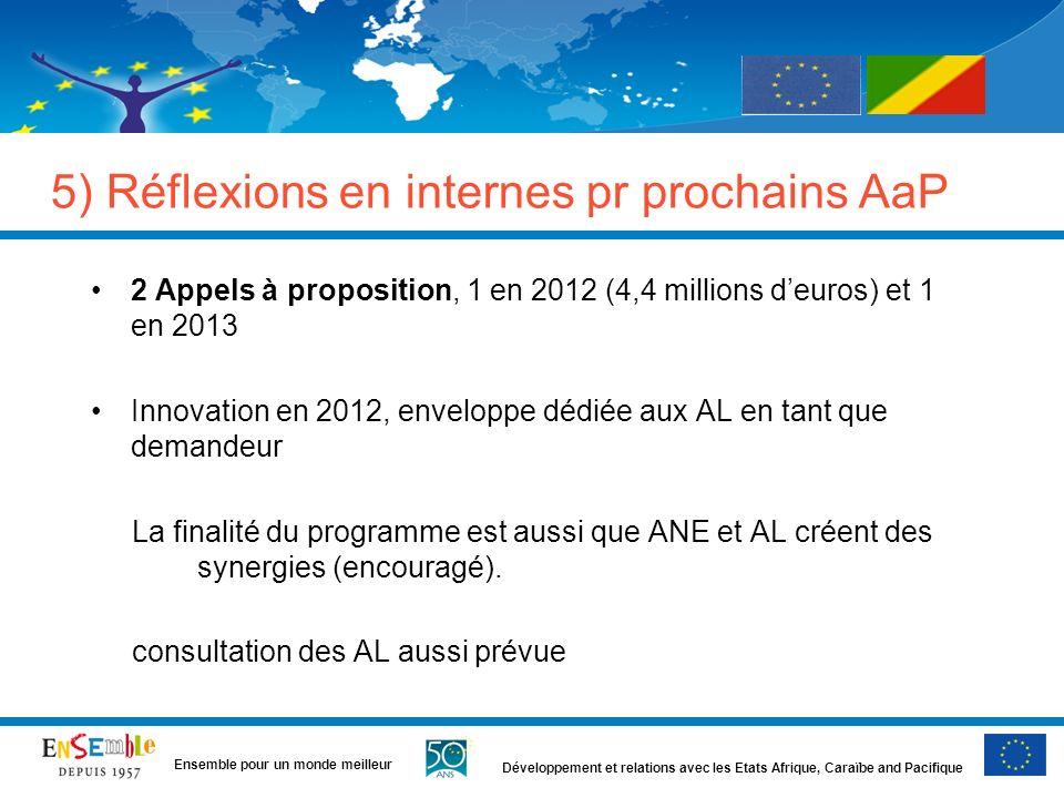 Développement et relations avec les Etats Afrique, Caraïbe and Pacifique Ensemble pour un monde meilleur 5) Réflexions en internes pr prochains AaP 2 Appels à proposition, 1 en 2012 (4,4 millions deuros) et 1 en 2013 Innovation en 2012, enveloppe dédiée aux AL en tant que demandeur La finalité du programme est aussi que ANE et AL créent des synergies (encouragé).