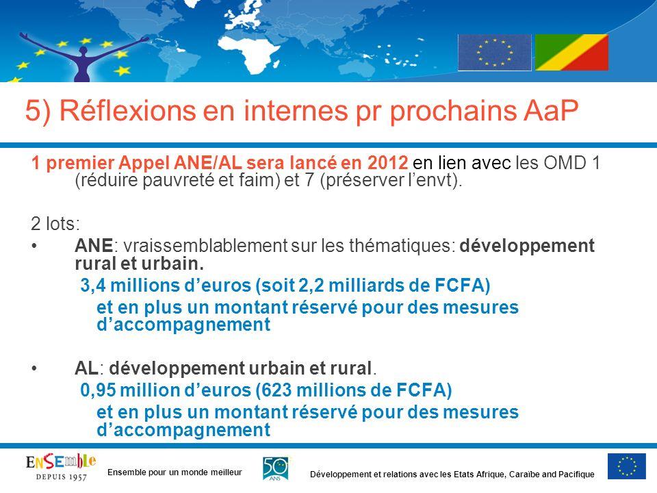 Développement et relations avec les Etats Afrique, Caraïbe and Pacifique Ensemble pour un monde meilleur 5) Réflexions en internes pr prochains AaP 1 premier Appel ANE/AL sera lancé en 2012 en lien avec les OMD 1 (réduire pauvreté et faim) et 7 (préserver lenvt).