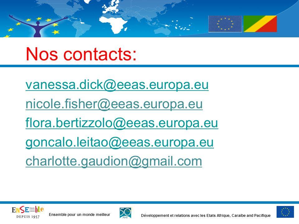 Développement et relations avec les Etats Afrique, Caraïbe and Pacifique Ensemble pour un monde meilleur Nos contacts: vanessa.dick@eeas.europa.eu nicole.fisher@eeas.europa.eu flora.bertizzolo@eeas.europa.eu goncalo.leitao@eeas.europa.eu charlotte.gaudion@gmail.com