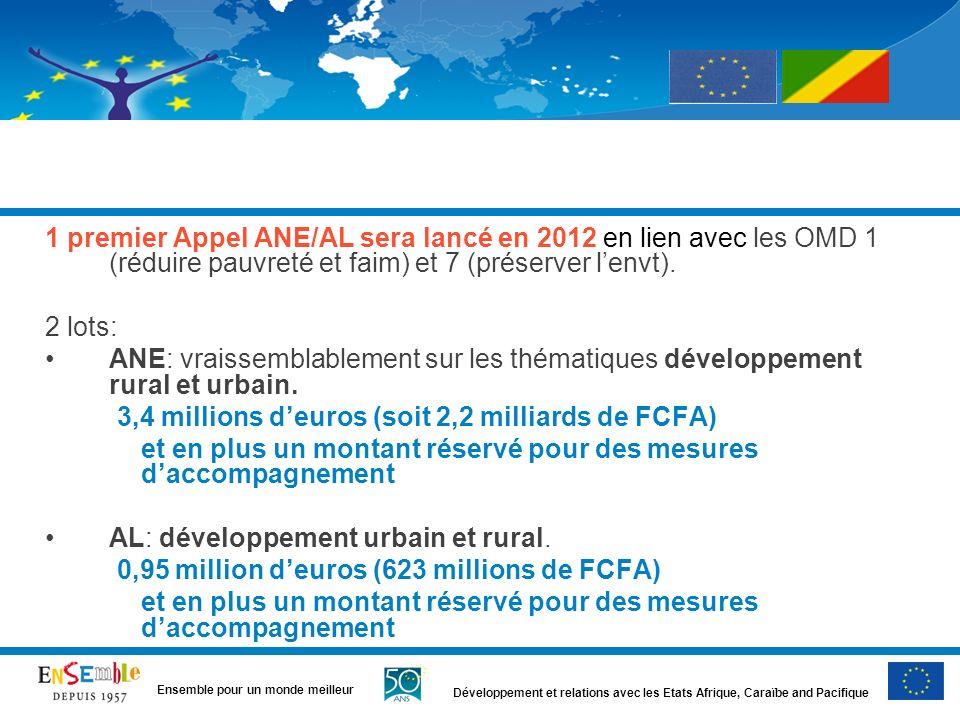 Développement et relations avec les Etats Afrique, Caraïbe and Pacifique Ensemble pour un monde meilleur 1 premier Appel ANE/AL sera lancé en 2012 en lien avec les OMD 1 (réduire pauvreté et faim) et 7 (préserver lenvt).