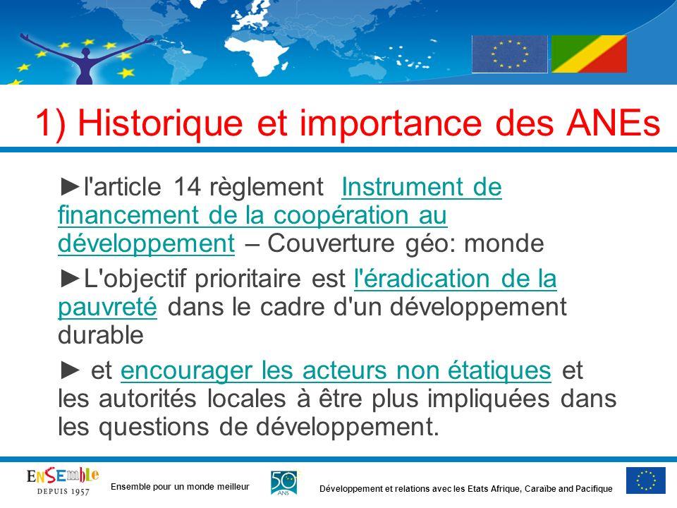 Développement et relations avec les Etats Afrique, Caraïbe and Pacifique Ensemble pour un monde meilleur Contexte: aide UE au Congo pour ANE AL dans le paysage de laide UE au Congo Sécu alim ANEs AL (ONGs, etc.) FED NATIONAL (Congo) 8ème 9ème 10 ème 2008-2013 FED Régional (AC) FED intra-ACP Budget CE Sucre Etats Membres 11ème Autres appels