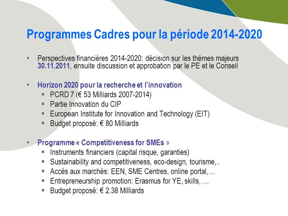 Programmes Cadres pour la période 2014-2020 Perspectives financières 2014-2020: décision sur les thèmes majeurs 30.11.2011, ensuite discussion et appr