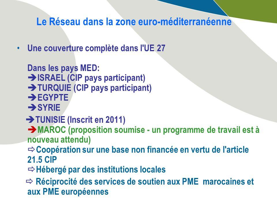Le Réseau dans la zone euro-méditerranéenne Une couverture complète dans l UE 27 Dans les pays MED: ISRAEL (CIP pays participant) TURQUIE (CIP pays participant) EGYPTE SYRIE TUNISIE (Inscrit en 2011) MAROC (proposition soumise - un programme de travail est à nouveau attendu) Coopération sur une base non financée en vertu de l article 21.5 CIP Hébergé par des institutions locales Réciprocité des services de soutien aux PME marocaines et aux PME européennes