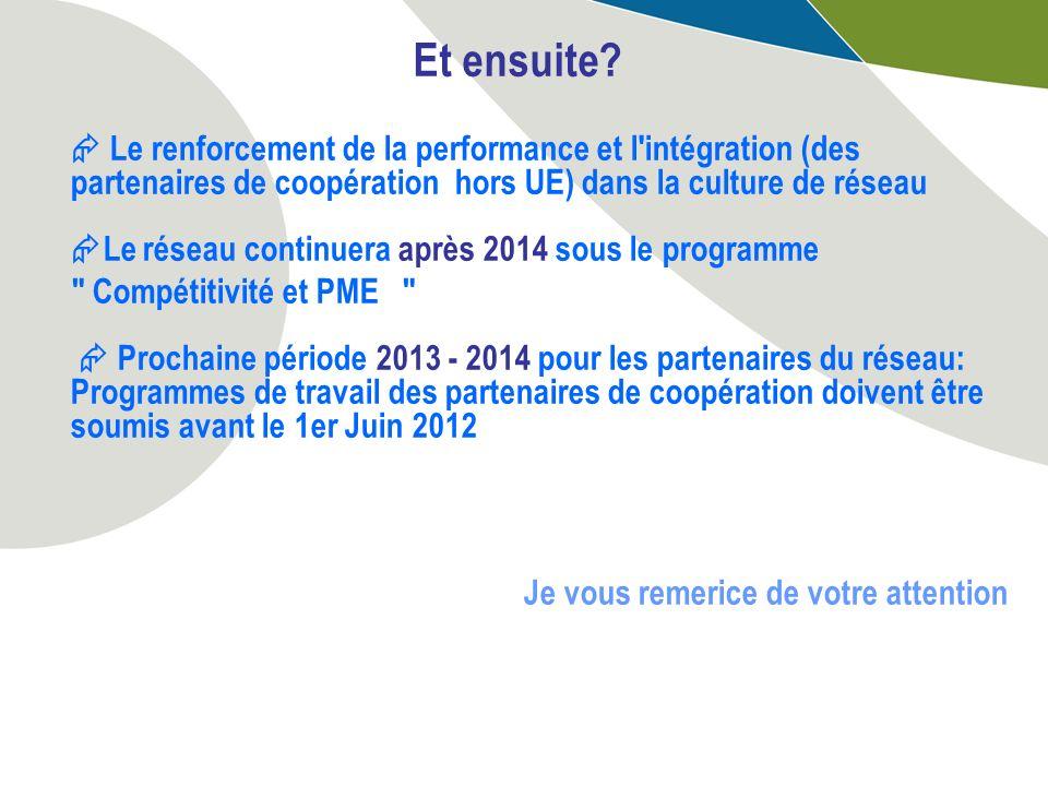 Et ensuite? Le renforcement de la performance et l'intégration (des partenaires de coopération hors UE) dans la culture de réseau Le réseau continuera