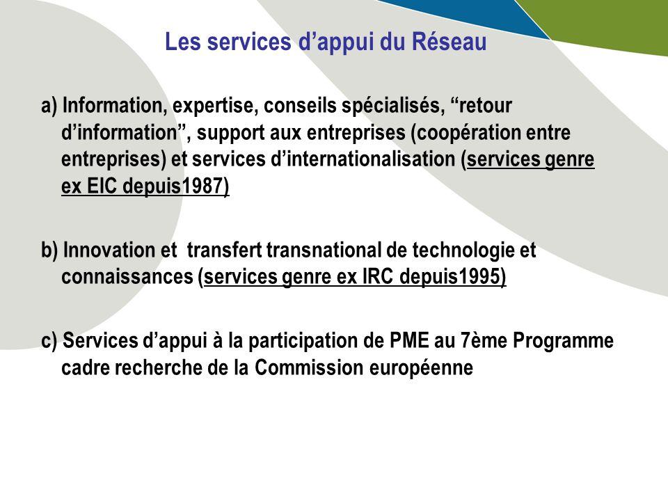 a) Information, expertise, conseils spécialisés, retour dinformation, support aux entreprises (coopération entre entreprises) et services dinternation