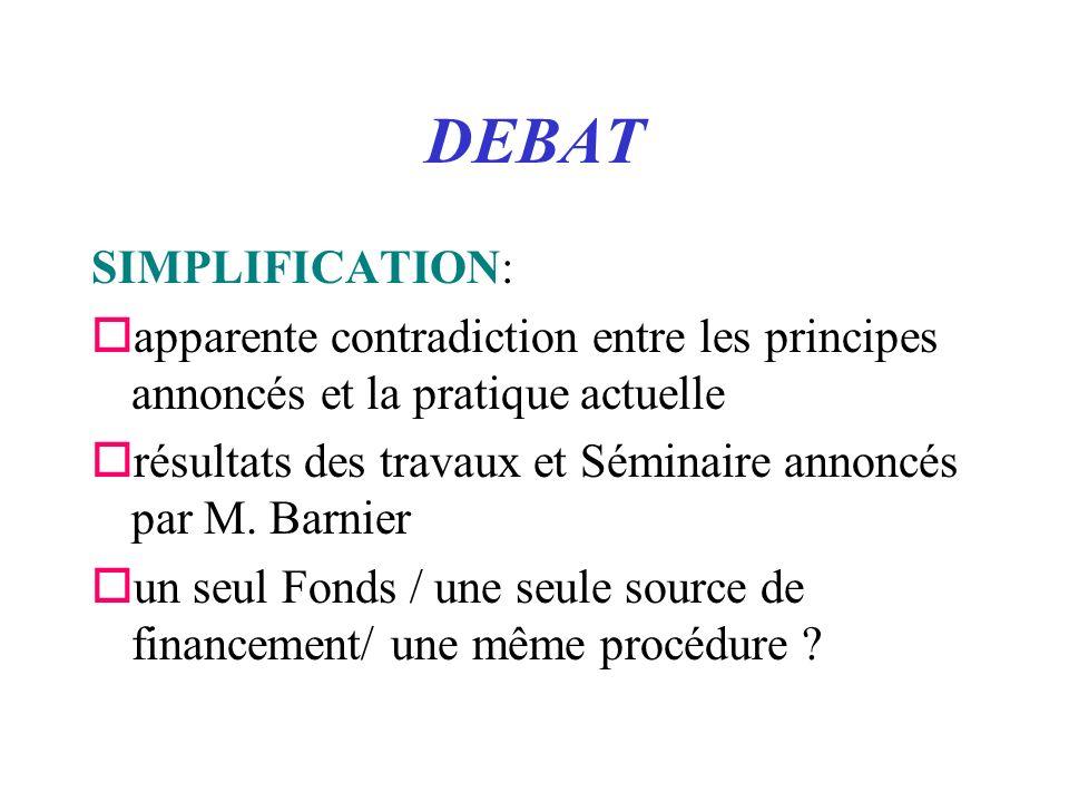 DEBAT SIMPLIFICATION: oapparente contradiction entre les principes annoncés et la pratique actuelle orésultats des travaux et Séminaire annoncés par M.