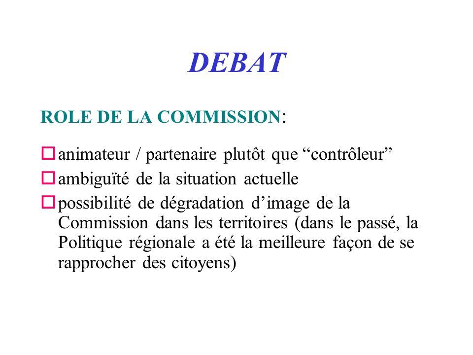 DEBAT ROLE DE LA COMMISSION : oanimateur / partenaire plutôt que contrôleur oambiguïté de la situation actuelle opossibilité de dégradation dimage de