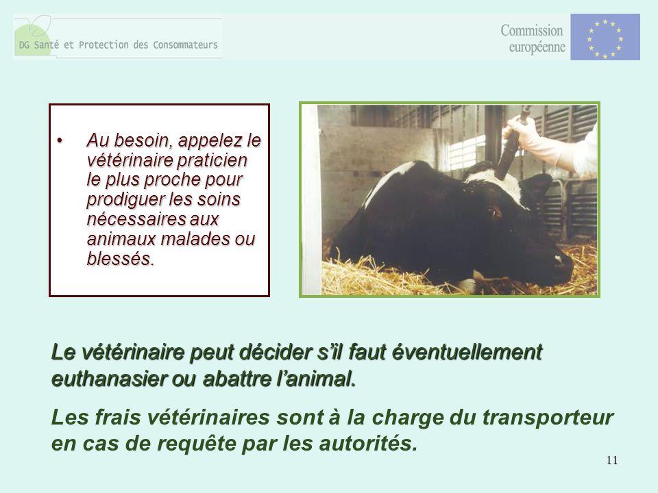 11 Au besoin, appelez le vétérinaire praticien le plus proche pour prodiguer les soins nécessaires aux animaux malades ou blessés.Au besoin, appelez l