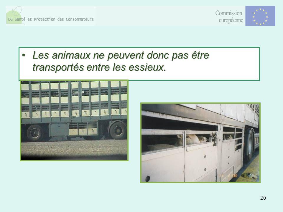 20 Les animaux ne peuvent donc pas être transportés entre les essieux.Les animaux ne peuvent donc pas être transportés entre les essieux.