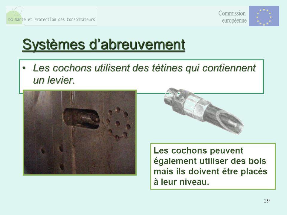29 Systèmes dabreuvement Les cochons utilisent des tétines qui contiennent un levier.Les cochons utilisent des tétines qui contiennent un levier.