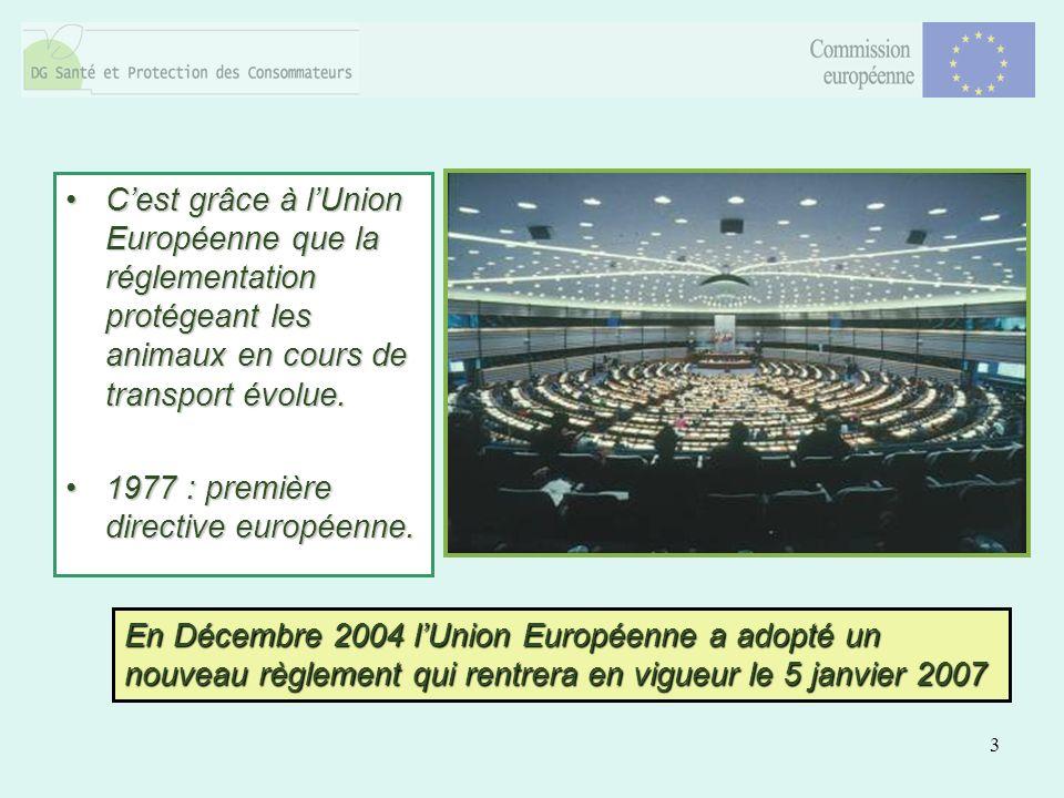 3 Cest grâce à lUnion Européenne que la réglementation protégeant les animaux en cours de transport évolue.Cest grâce à lUnion Européenne que la réglementation protégeant les animaux en cours de transport évolue.