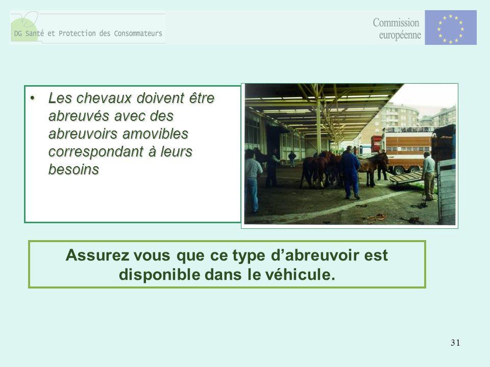 31 Les chevaux doivent être abreuvés avec des abreuvoirs amovibles correspondant à leurs besoinsLes chevaux doivent être abreuvés avec des abreuvoirs amovibles correspondant à leurs besoins Assurez vous que ce type dabreuvoir est disponible dans le véhicule.
