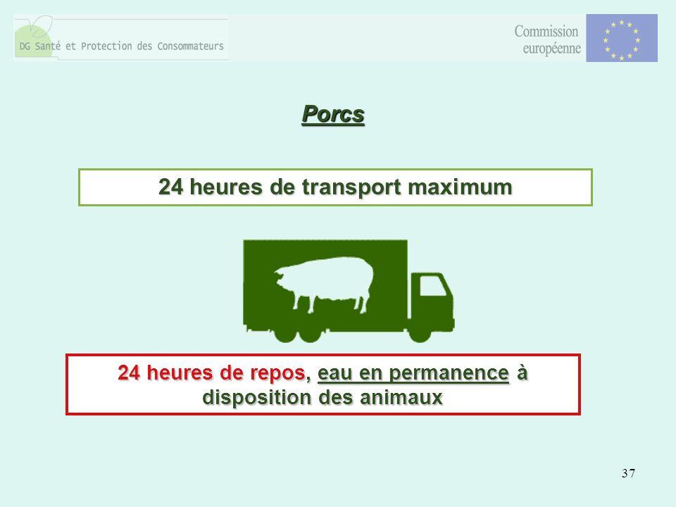 37 Porcs 24 heures de transport maximum 24 heures de repos, eau en permanence à disposition des animaux
