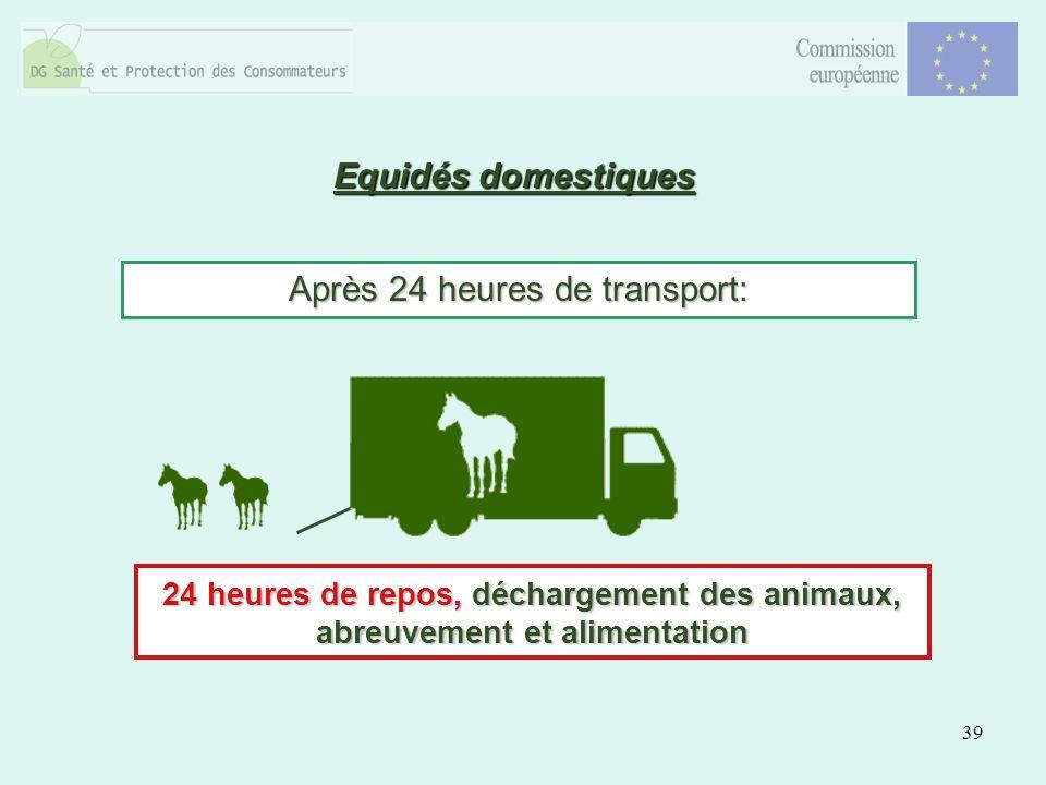 39 Equidés domestiques Après 24 heures de transport: 24 heures de repos, déchargement des animaux, abreuvement et alimentation